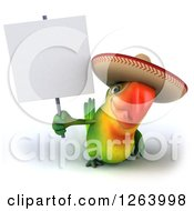 Clipart Of A 3d Green Parrot Wearing A Mexican Sombrero And Holding A Blank Sign Royalty Free Vector Illustration