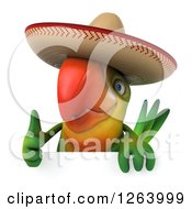 Clipart Of A 3d Green Parrot Wearing A Mexican Sombrero And Giving A Thumb Up Over A Sign Royalty Free Vector Illustration