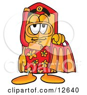 Clipart Picture Of A Price Tag Mascot Cartoon Character In Orange And Red Snorkel Gear by Toons4Biz
