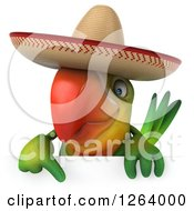 Clipart Of A 3d Green Parrot Wearing A Mexican Sombrero Over A Sign Royalty Free Vector Illustration