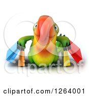 Clipart Of A 3d Green Parrot Carrying Shopping Bags Royalty Free Vector Illustration