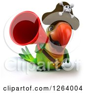Clipart Of A 3d Green Parrot Pirate Announcing With A Megaphone Royalty Free Vector Illustration