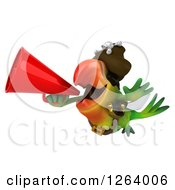 Clipart Of A 3d Green Parrot Pirate Flying And Announcing With A Megaphone Royalty Free Vector Illustration