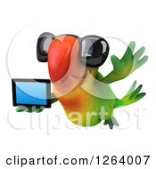 Clipart Of A 3d Green Parrot Wearing Sunglasses And Flying With A Tablet Computer Royalty Free Vector Illustration