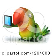 Clipart Of A 3d Green Parrot Holding A Tablet Computer Royalty Free Vector Illustration