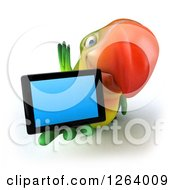 Clipart Of A 3d Green Parrot Holding Out A Tablet Computer Royalty Free Vector Illustration