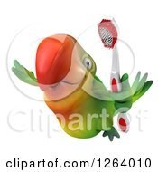 Clipart Of A 3d Green Parrot Flying With A Toothbrush Royalty Free Vector Illustration