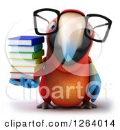 Clipart Of A 3d Bespectacled Macaw Parrot Holding A Stack Of Books Royalty Free Vector Illustration
