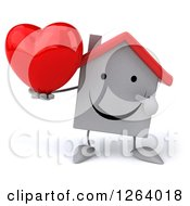 Clipart Of A 3d White House Character Holding A Heart Royalty Free Illustration by Julos