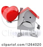 Clipart Of A 3d Unhappy White House Character Holding A Heart Royalty Free Illustration by Julos
