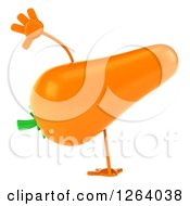 Clipart Of A 3d Carrot Mascot Cartwheeling Royalty Free Vector Illustration