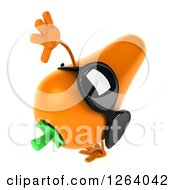 Clipart Of A 3d Carrot Mascot Wearing Sunglasses And Cartwheeling Royalty Free Vector Illustration