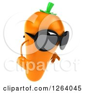 Clipart Of A 3d Sad Carrot Mascot Wearing Sunglasses Royalty Free Vector Illustration