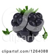 Clipart Of A 3d Blackberry Character Presenting Royalty Free Vector Illustration by Julos