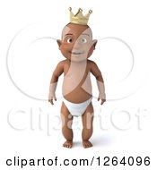 Clipart Of A 3d Black Baby Boy Standing In A Crown Royalty Free Vector Illustration