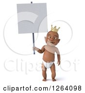 Clipart Of A 3d Black Baby Boy Wearing A Crown And Holding A Sign Royalty Free Vector Illustration