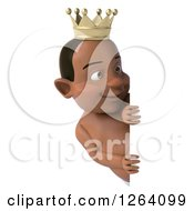 Clipart Of A 3d Black Baby Boy Wearing A Crown And Looking Around A Sign Royalty Free Vector Illustration