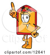 Clipart Picture Of A Price Tag Mascot Cartoon Character Pointing Upwards by Toons4Biz