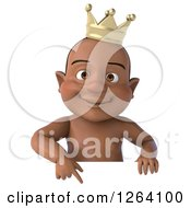 Clipart Of A 3d Black Baby Boy Wearing A Crown And Pointing Down At A Sign Royalty Free Vector Illustration
