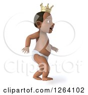 Clipart Of A 3d Black Baby Boy Wearing A Crown And Walking Royalty Free Vector Illustration