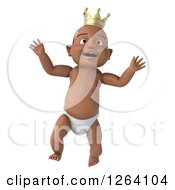 Clipart Of A 3d Black Baby Boy Wearing A Crown And Jumping Royalty Free Vector Illustration