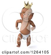 Clipart Of A 3d Black Baby Boy Wearing A Crown And Running Royalty Free Vector Illustration