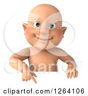 Clipart Of A 3d White Baby Boy Pointing Down At A Sign Royalty Free Vector Illustration