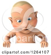 Clipart Of A 3d White Baby Boy Looking Down At A Sign Royalty Free Vector Illustration