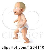 3d White Baby Boy Walking