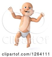 Clipart Of A 3d White Baby Boy Jumping Royalty Free Vector Illustration