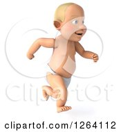 3d White Baby Boy Running