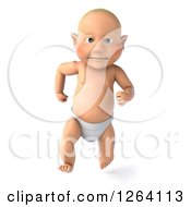 Clipart Of A 3d White Baby Boy Running Royalty Free Vector Illustration