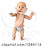 Clipart Of A 3d White Baby Boy Walking Royalty Free Vector Illustration