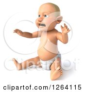 Clipart Of A 3d White Baby Boy Sitting And Crying Royalty Free Vector Illustration