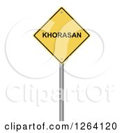 Clipart Of A 3d Yellow KHORASAN Warning Sign Over White Royalty Free Illustration