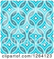 Seamless Blue Diamond Damask Pattern Background