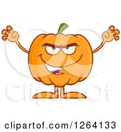 Clipart Of A Scary Pumpkin Character Royalty Free Vector Illustration by Hit Toon