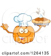 Clipart Of A Happy Pumpkin Chef Character Holding Up A Pie Royalty Free Vector Illustration by Hit Toon