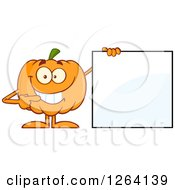 Happy Pumpkin Character Pointing To A Blank Sign by Hit Toon