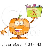 Clipart Of A Happy Pumpkin Character Holding Up Trick Or Treat Halloween Candy Royalty Free Vector Illustration