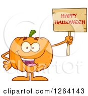 Happy Pumpkin Character Holding A Happy Halloween Sign by Hit Toon