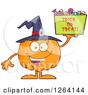 Clipart Of A Happy Witch Pumpkin Character Holding Up A Trick Or Treat Halloween Candy Basket Royalty Free Vector Illustration