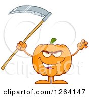 Clipart Of A Pumpkin Character Holding A Scythe Royalty Free Vector Illustration by Hit Toon