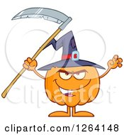 Pumpkin Character Wearing A Witch Hat And Holding A Scythe by Hit Toon