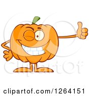 Happy Pumpkin Character Holding A Thumb Up by Hit Toon
