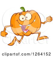 Happy Pumpkin Character Running by Hit Toon
