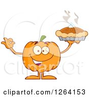 Clipart Of A Happy Pumpkin Character Holding Up A Pie Royalty Free Vector Illustration