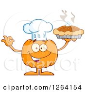 Clipart Of A Happy Pumpkin Chef Character Holding Up A Pie Royalty Free Vector Illustration