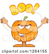 Clipart Of A Scary Pumpkin Character With Boo Text Royalty Free Vector Illustration