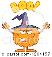 Clipart Of A Scary Witch Pumpkin Character With Boo Text Royalty Free Vector Illustration
